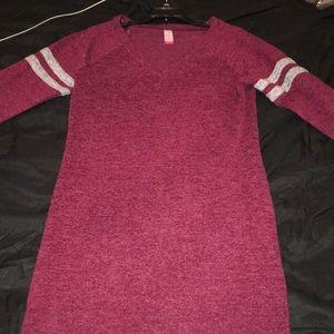 No Boundaries Burgundy Long Sleeve Dress